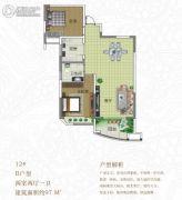 景鸿东湖翡翠2室2厅1卫97平方米户型图
