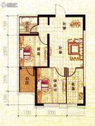 溪城丽景2室2厅1卫60平方米户型图