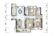 保利香槟国际3室2厅2卫124平方米户型图