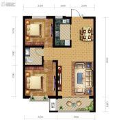 尚贤府2室2厅1卫90平方米户型图