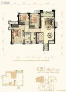 中庚・香江万里3室2厅2卫93平方米户型图