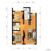 华润幸福里2室2厅2卫88平方米户型图