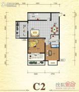 元森北新时代2室2厅1卫74平方米户型图