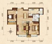 富力城2室2厅1卫89平方米户型图