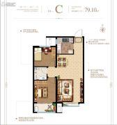 泰华・梧桐苑一期2室2厅1卫79平方米户型图