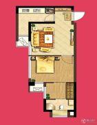泰盈八千里1室2厅1卫51平方米户型图