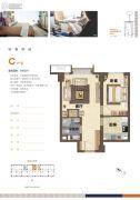 鸿坤・理想澜湾1室1厅1卫60平方米户型图