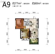 雅居乐原乡2室2厅1卫77平方米户型图