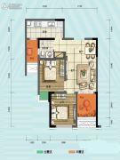 旭阳台北城敦美里2室1厅1卫55平方米户型图