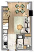 星纪元1室1厅1卫37平方米户型图