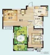 御翠园2室2厅1卫89平方米户型图