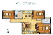 东润朗郡3室2厅1卫107平方米户型图