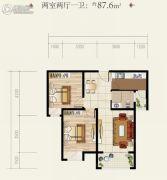 安居・尚美城2室2厅1卫87平方米户型图