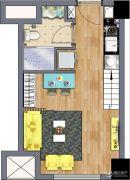 中南世纪雅苑2室1厅1卫35平方米户型图