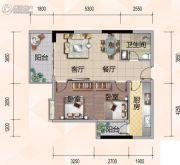 悦尚公馆2室2厅1卫86平方米户型图