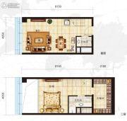 众美定制广场1室2厅2卫50平方米户型图