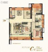 中庚・香�R融江(中庚・香颂)4室2厅2卫129平方米户型图