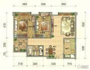 七彩云南第壹城2室2厅1卫81--83平方米户型图