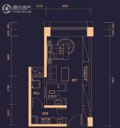勤诚达雅阁国际1室0厅1卫44平方米户型图