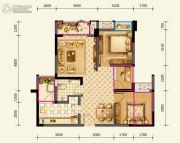 绿地国际花都2室2厅1卫77平方米户型图