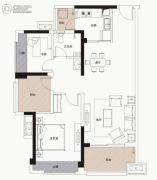 中海凯旋城2室2厅1卫89平方米户型图