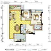 南湖凯旋广场3室2厅2卫92平方米户型图