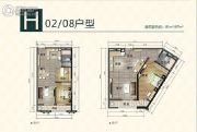 南沙奥园2室2厅1卫83--87平方米户型图