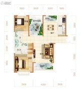 东方美地3室2厅2卫125平方米户型图