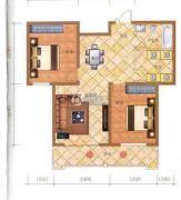 檀香湾2室2厅1卫102平方米户型图