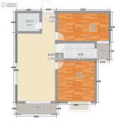 公园华府2室2厅1卫81平方米户型图