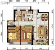 中海左岸岚庭2室2厅1卫73平方米户型图