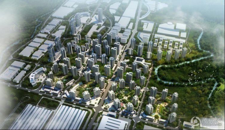 银翔城效果图项目中心居住组团鸟瞰图