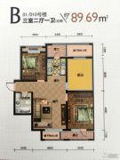 建荣・皇家海岸3室2厅1卫89平方米户型图