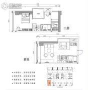涛汇广场2室2厅2卫39平方米户型图