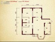 珠江新城3室2厅2卫121平方米户型图
