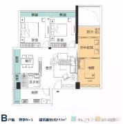 美吉丽・鼎通国际3室2厅1卫114平方米户型图
