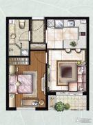 雨润北海湾1室1厅1卫60平方米户型图
