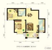 新元绿洲2室2厅1卫85平方米户型图