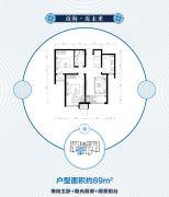 京能海语城2室2厅1卫89平方米户型图