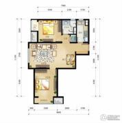 万科金域缇香2室2厅1卫87平方米户型图