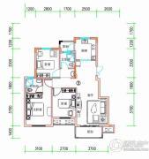 丰泽园3室2厅2卫89平方米户型图
