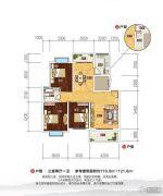 随州明珠小城3室2厅1卫118--121平方米户型图