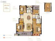 禹洲招商拾鲤4室2厅2卫118平方米户型图