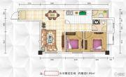 九立方国际购物中心2室2厅1卫65平方米户型图