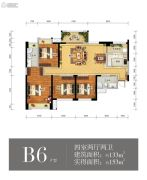 瑞升望江橡树林4室2厅2卫133平方米户型图