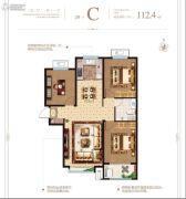 泰华・梧桐苑一期3室2厅1卫112平方米户型图