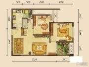 龙湖花千树2室1厅1卫66平方米户型图
