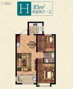 荣盛・公园印象2室2厅1卫83平方米户型图