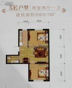 辽阳第一城2室2厅1卫69平方米户型图
