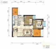 旭阳台北城敦美里2室2厅1卫55平方米户型图